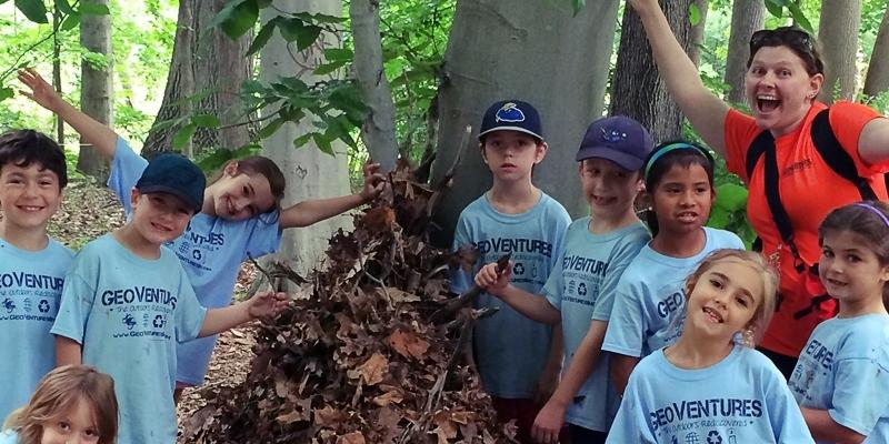 Youth campers experiencing nature